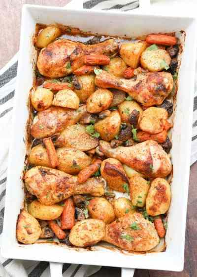 One Pan Baked Chicken Potatoes and Vegetables.