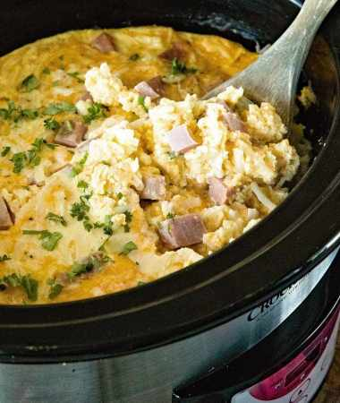 Cheesy Ham Crock Pot Breakfast Casserole