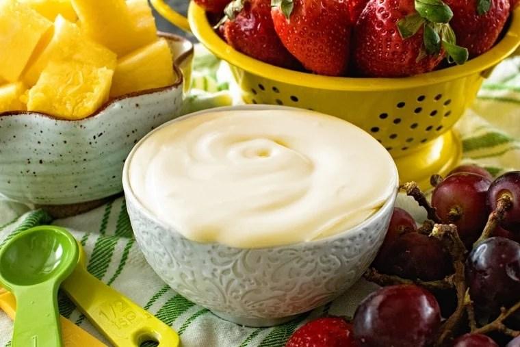 Bowl of cream cheese fruit dip
