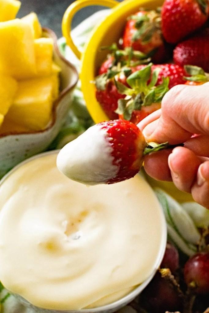 Strawberry Dipped in Fruit Dip Recipe