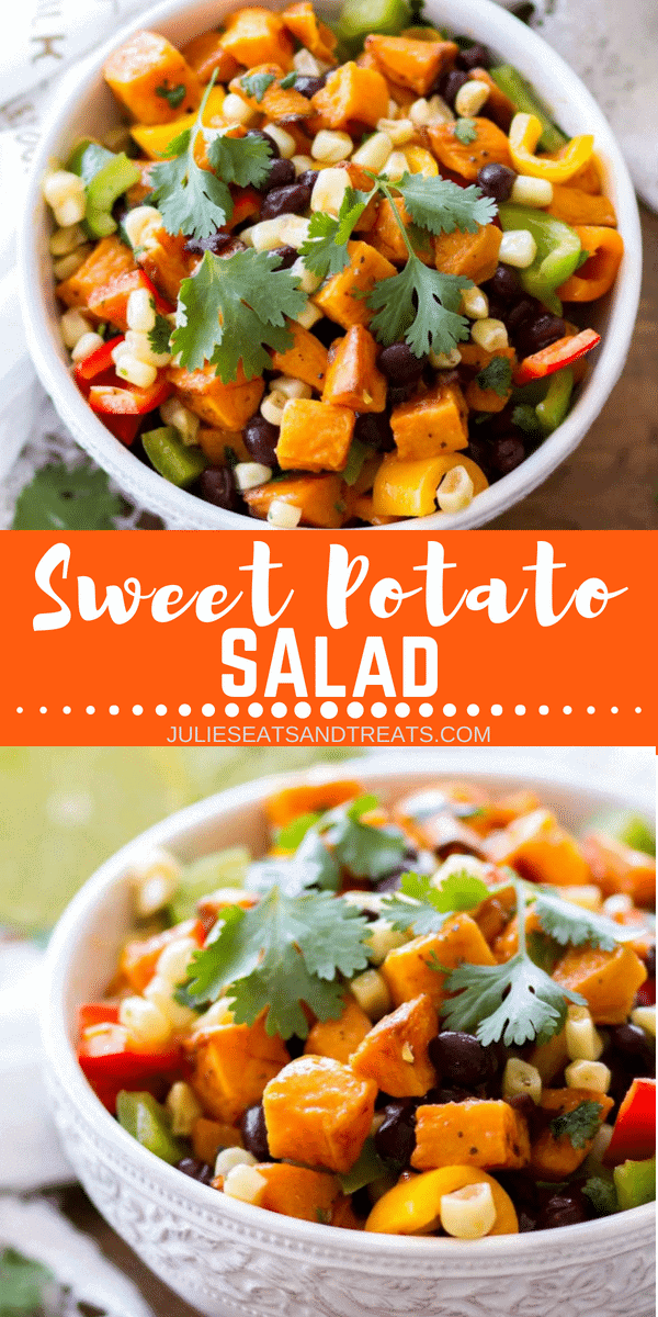 This Southwestern Sweet Potato Salad is an easy side dish recipe that is perfect for summer!The southwestern flavors from Sweet Corn, Black Beans, Peppers, Lime Juice and Roasted Red Pepper Dressing take this Sweet Potato Salad to a whole new level!#sweetpotato #potatosalad #potato #salad #southwestern #peppers #bellpeppers #blackbeans #corn #sidedish #recipe #easy #easyrecipe #julieseatsandtreats