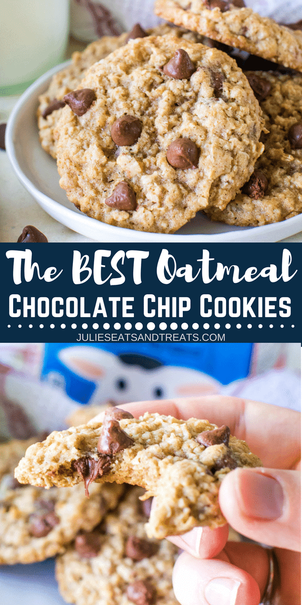 Perfectly soft, chewy Oatmeal Chocolate Chip Cookies Recipe, perfect for dunking in your milk as a dessert or after school snack! These are the BEST Oatmeal Chocolate Chip Cookies! #julieseatsandtreats #cookies #cookie #oatmeal #chocolate #chocolatechip #chocolatechipcookie #cookierecipe #recipe #easycookierecipe #easyrecipe #julieseatsandtreats #oatmealcookies #oatmealchocolatechipcookie #oatmealchocolatechip