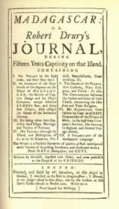 Robert Drury Journal Title Page (1729)