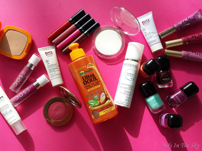 blog beauté favoris juillet août 2015 poudre All About Matte Essence poudre Sublime Sun L'Oréal Rebel Bouncy Blush Kiko Effaclar Duo La Roche Posay Beauté Bio by Nuxe Hydrabio Bioderma vernis Power Pro Nail Lacquer Kiko Melted Too Faced Dose Of Colors Rouges Velouté Sans Transfert Sephora crème de jour Ultra Doux Garnier avis test
