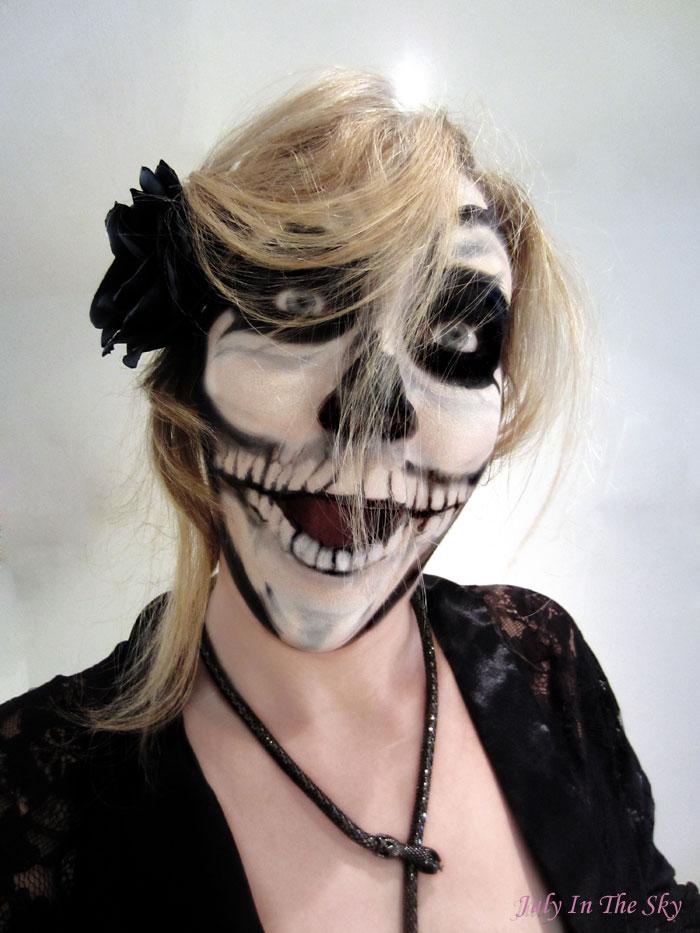 blog beaute make up halloween squelette skeleton undead zombie beauty blogger barbie