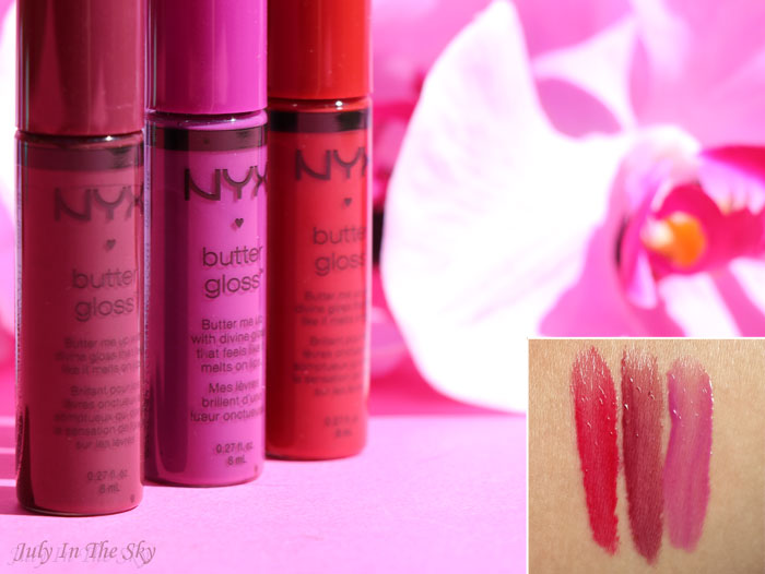 July In The Sky ; blog beauté nyx butter gloss swatch