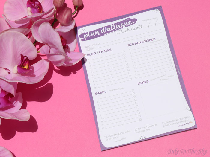 blog beauté organisation bloguer Les Blog' Notes Plan d'Attaque Journalier