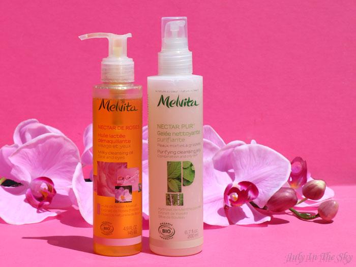 blog beauté melvita monde bio nectar de rose huile demaquillante lactée nectar pur gelée nettoyante purifiante