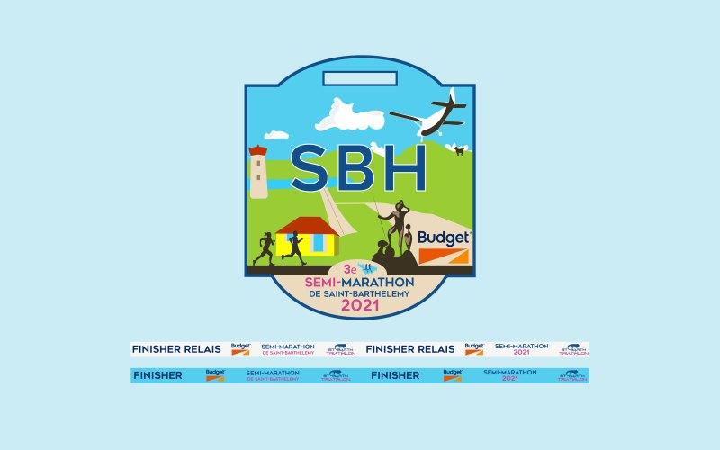 Création de la médaille du semi marathon de Saint-Barthélemy - Graphisme - 2021