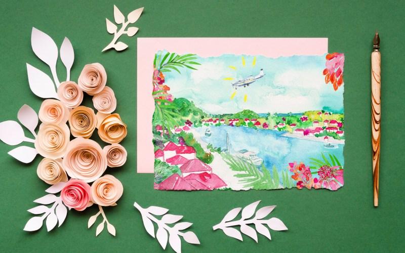 Création des illustrations pour de la papeterie de mariage sur le thème des tropiques et de Saint-Barth - 2021 - Saint-Barthélemy
