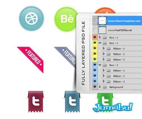 Fully Layered Web Ribbons 500x419 - Set de Ribbons Editables en Photoshop