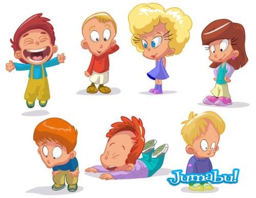 Set of funny kids 02  - Niños en Vectorizados en Diferentes Acciones