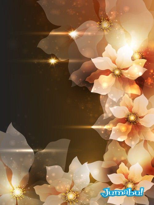flores brillosas coloridas pequeñas vectores - Flores con Destellos de Luz y Colores en Vectores