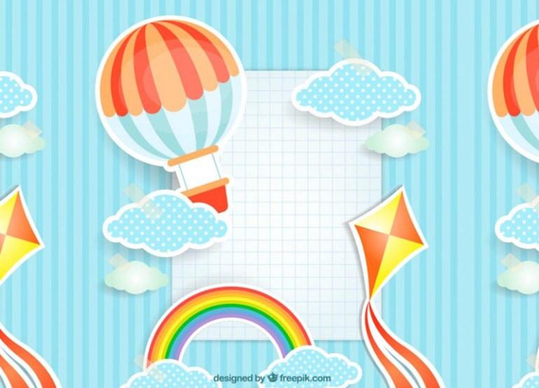 fondo infantil globos invitaciones - Crea tus Invitaciones en Vectores para Niños