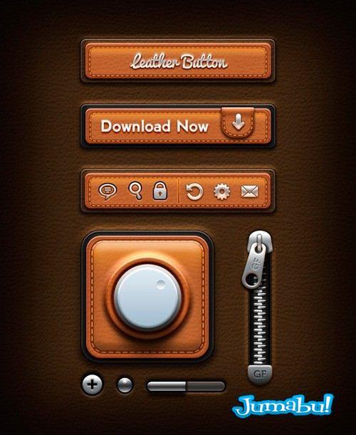 interface usuarios cuero - PSD Elementos de User Interface en Cuero!