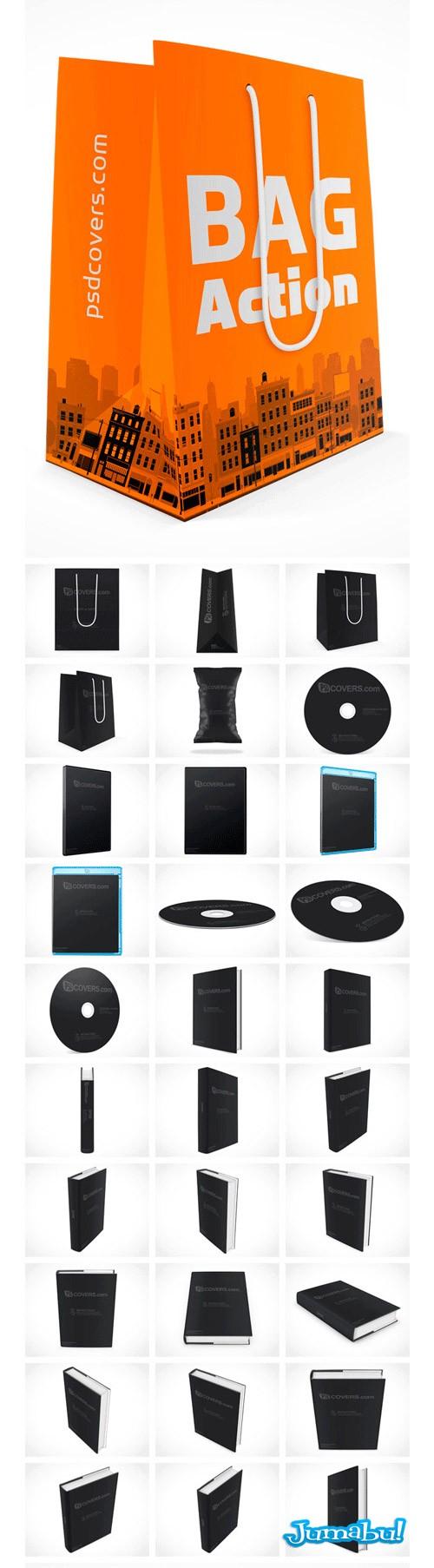 mock up bolsas - Más de 100 Mock Ups de Bolsas, Flyers, Trípticos, Libros, CD