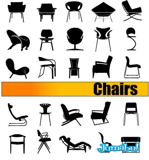 sillas vectorizadas asientos banquetas - Sillas de Diseño en Vectores