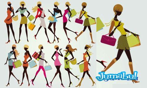 siluetas coloridas shopping girl - Mujeres de Shopping