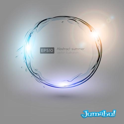 vectores circular agua luces - Destellos de Luces de Colores sobre Figuras Transparentes en Vectores