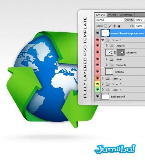 Fully Layered Recycle Icon Set 500x5572 - Icono de Reciclado en PSD
