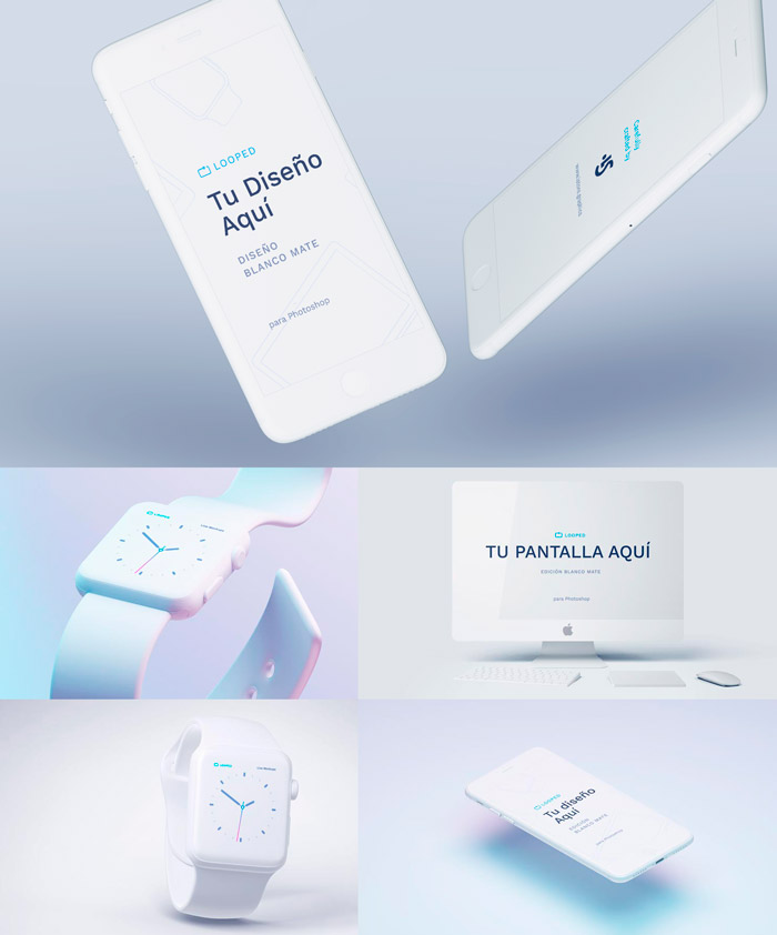 Iphone color blanco mate mockups - Fantásticos Mockups de distintos dispositivos en color blanco mate
