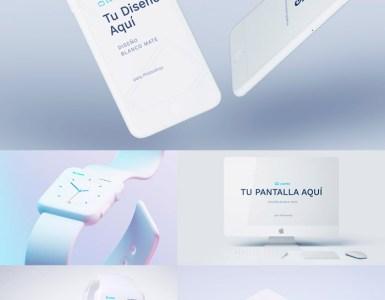 Iphone color blanco mate mockups - Fantásticos Mockups de distintos dispositivos en color blanco mate
