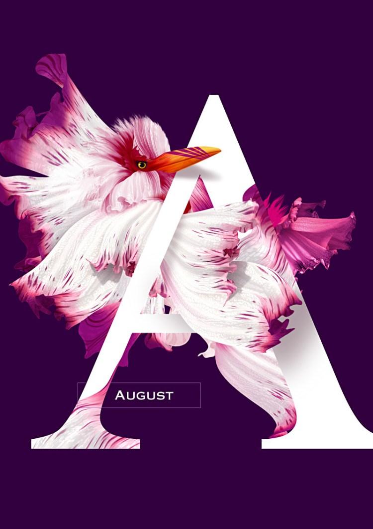 agosto 1 - Diseño de Calendario con flores y aves muy original
