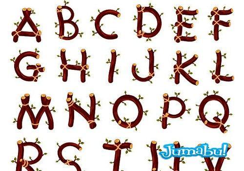 Letras o Alfabeto Compuesto por Ramas y Hojas en Vectores | Jumabu