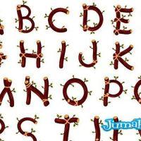 Letras o Alfabeto Compuesto por Ramas y Hojas en Vectores
