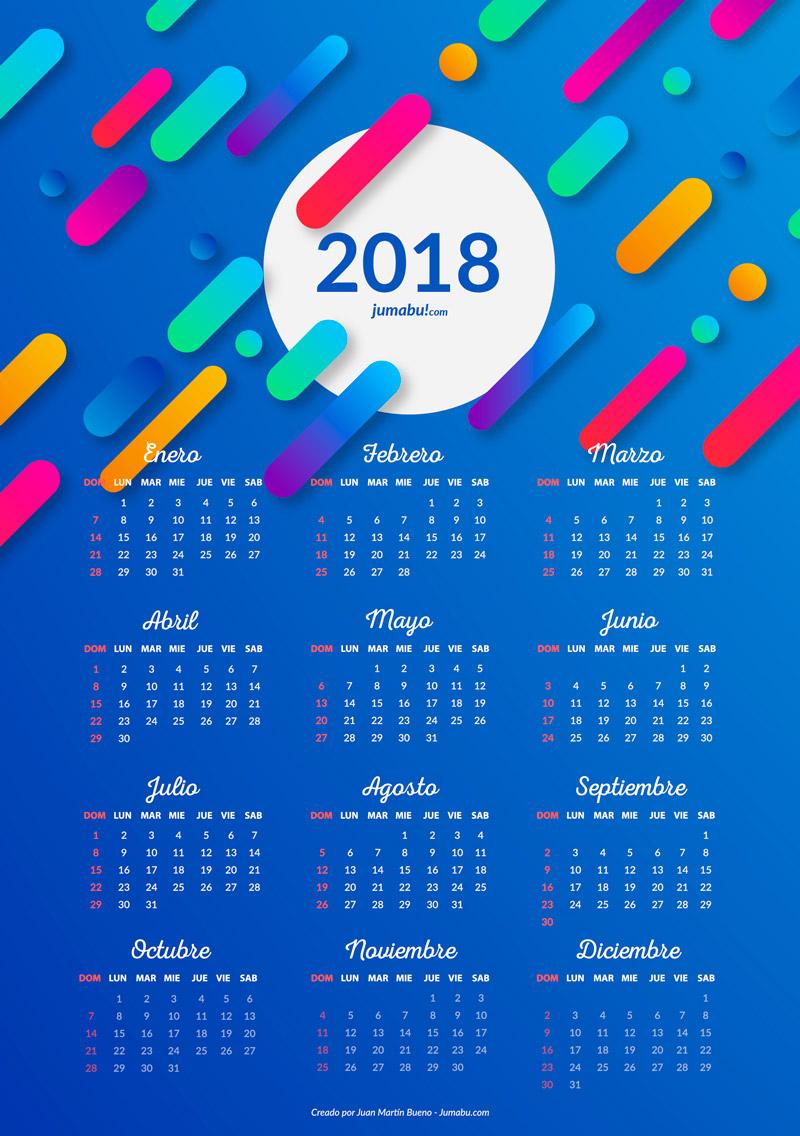 Almanaques 2018 para imprimir gratis