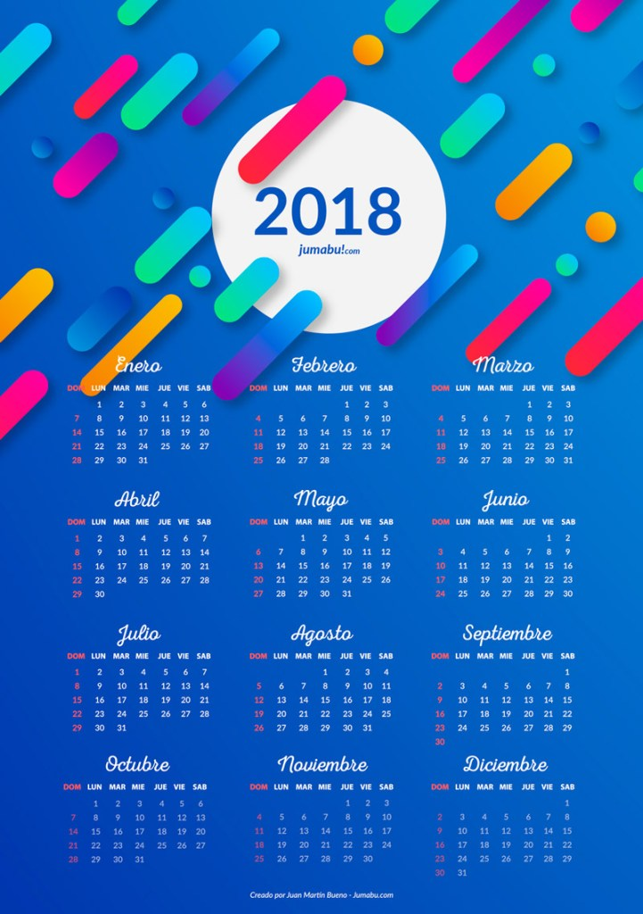 Almanaques 2018 para imprimir gratis jumabu for Fondo de pantalla calendario 2018