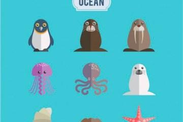animales del oceano - Animales del Océano en Vectores