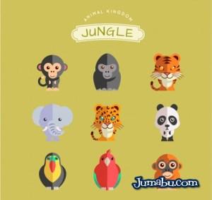 animales jungla - Animales de la Jungla Vectorizados con Estilo Plano