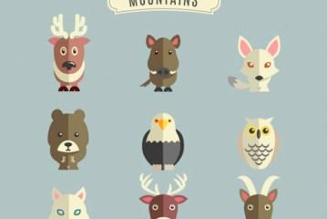 animales montana vectores planos - Animales de la Montaña Vectorizados Efecto Plano