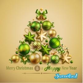 arbol navideno estrellas guirnaldas - Estrellas, Guirnaldas, Bolas y Demás Elementos Navideños en Vectores