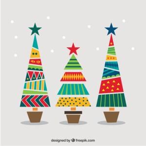 arbolitos navidad coloridos gratis - Arbolitos navideños en vectores para descargar gratis