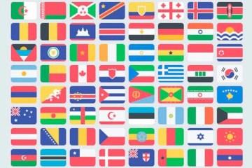 banderas flat style - Banderas con Efecto Plano para Photoshop