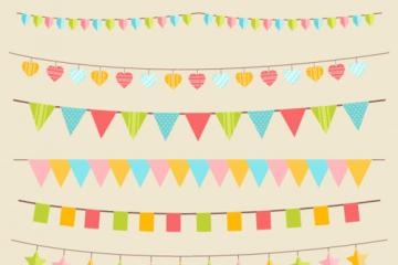 banderines fiesta cumple vectores - Banderines de Cumpleaños en Vectores
