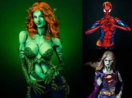 body painting superheroes - Excelente Body Painting de SuperHéroes