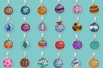 bolas navidad arbol dibujadas - Set de Bolas Navideñas Dibujadas a Mano en Vectores