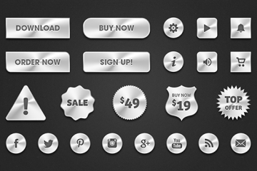 botones plateados - Botones e Iconos Metálicos en PSD para Descargar