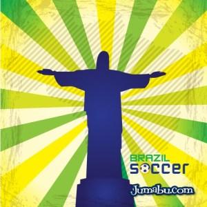 brazil futbol cristo vectores - Cristo Redentor Mundial de Fútbol Brasil 2014 en Vectores