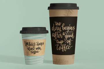 cafe mockup plantilla psd - Mockups de vasos térmicos para café de distintos tamaños