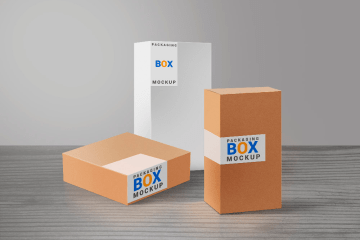 cajas carton mockup - Modelos de caja de cartón para descargar