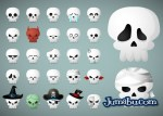 calaberas vectores halloween - Iconos de Calaveras en Vectores