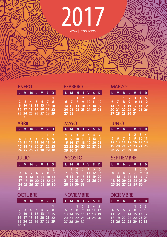 Calendario 2017 en español con Mandalas para imprimir Gratis