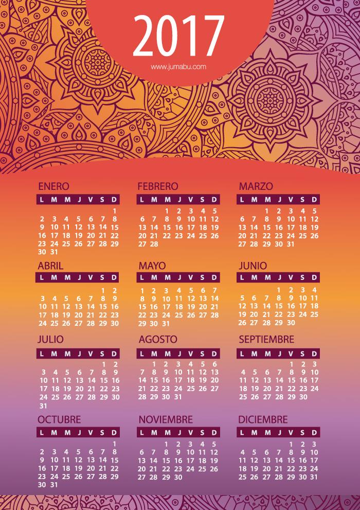 calendario 2016 jumabu mandalas - Calendario 2017 en español con Mandalas para imprimir Gratis