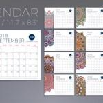 calendario 2018 con formato horizontal y mandalas decorativos