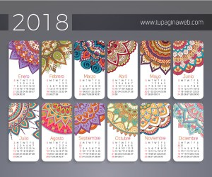 calendario 2018 espanol jumabu - Calendario 2018 en Español con Mandalas