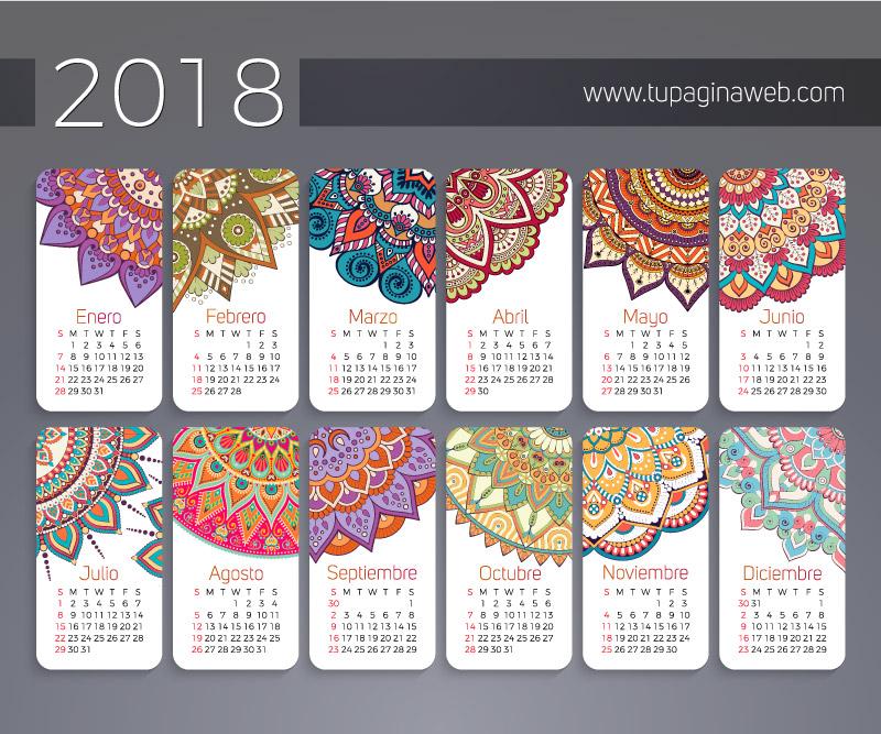 Calendario 2018 en Español con Mandalas
